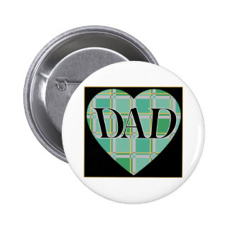 Plaid Dad Heart 2 Inch Round Button