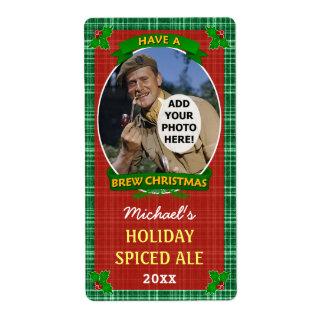 Plaid de vert de photo customisé par bière de Noël Étiquette D'expédition