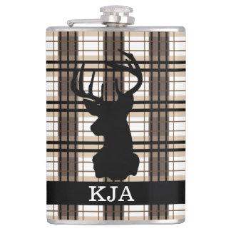 Plaid Deer Silhouette Flask
