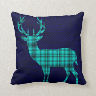 Plaid Deer Silhouette on Burlap | teal navy Throw Pillow