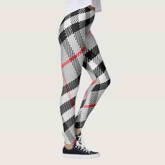 Plaid Design Black and White Leggings