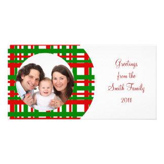 Plaid Design/Photo Customized Photo Card