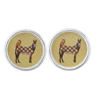 Plaid Donkey & Owl  Cuff Links Cufflinks