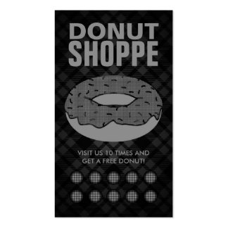 plaid donut punch card business card templates