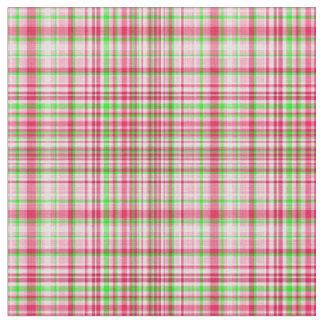 Plaid Fabric-Neon Green and Pink 23 Fabric
