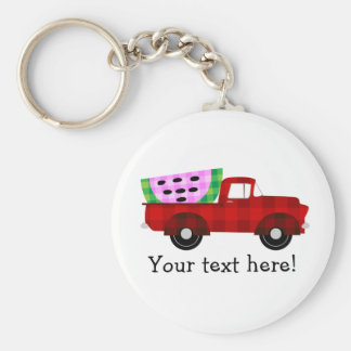 Plaid Farm truck Hauling Giant Watermelon Slice Basic Round Button Keychain