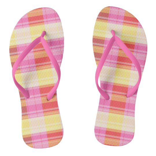 Plaid flip flops pink yellow red