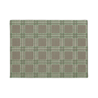 Plaid green and brown doormat