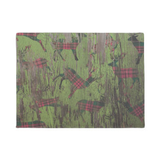 Plaid Green Deer Rustic Door Mat