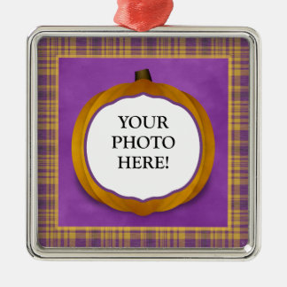 Plaid Halloween Pumpkin Custom Photo Ornament