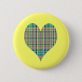 plaid heart 2 inch round button