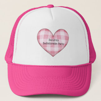 Plaid Heart 3D with Text Trucker Hat