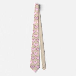 Plaid Heart Pattern Tie