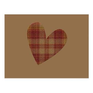 Plaid Heart Postcard