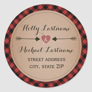Plaid Heart With Arrows Address Classic Round Sticker
