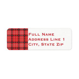 Plaid Holiday Return Address Label