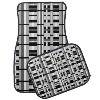 Plaid in Black White & Gray Car Mat
