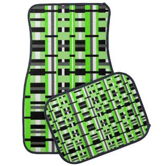 Plaid in Lime Green, Gray, Black & White Floor Mat