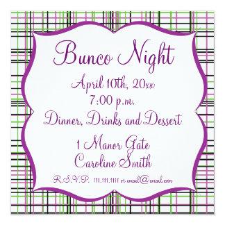 Plaid Invitiation - Green, White, Purple, and Blac 5.25x5.25 Square Paper Invitation Card