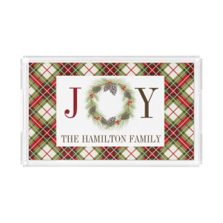 Plaid JOY Personalized Serving Tray