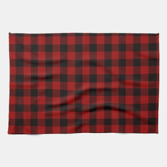 Plaid kitchen towels red and black