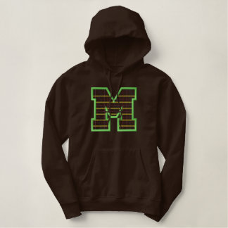 Plaid Letter M Embroidered Hoodie