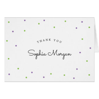 Plaid Lime and Lavender Polka Dots | Thank You Card