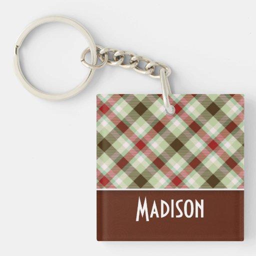 Plaid; Maroon & Sage Acrylic Keychains