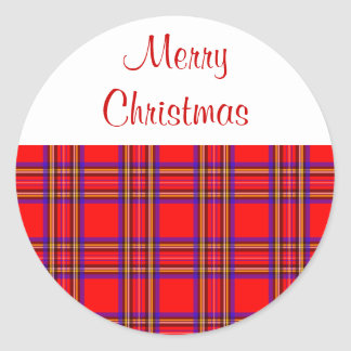 Plaid Merry Christmas Stickers