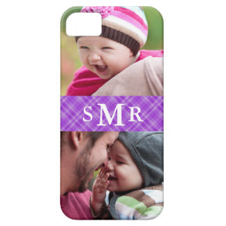 Plaid Monogram Photo iPhone 5 Case