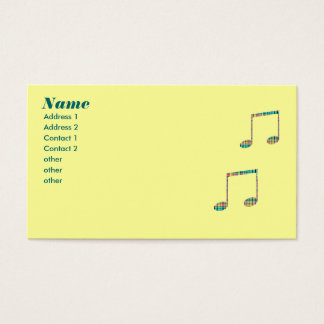plaid musical notes business card