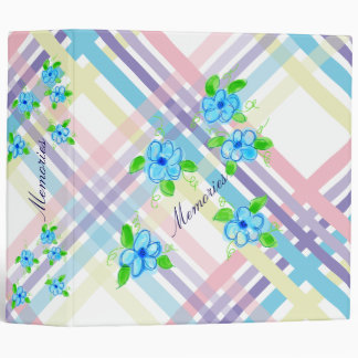 Plaid Pastel And Flowers Binders