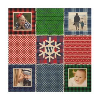 Plaid Patchwork Photo and Monogrammed Snowflake Wood Canvas