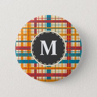 Plaid pattern 2 inch round button