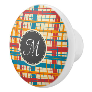 Plaid pattern ceramic knob