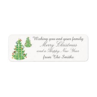 Plaid Pattern Christmas Tree Birds Personalized Return Address Label