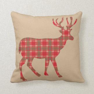 Plaid Pattern Deer Throw Pillow