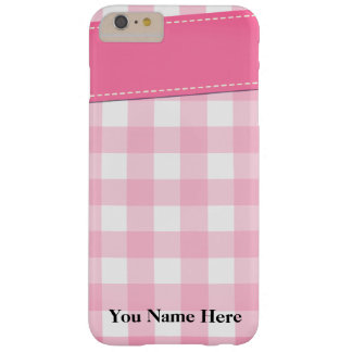 Plaid pattern design in shades of pink barely there iPhone 6 plus case