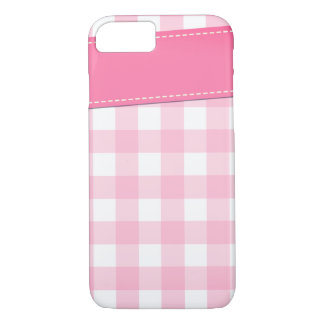 Plaid pattern design in shades of pink iPhone 7 case