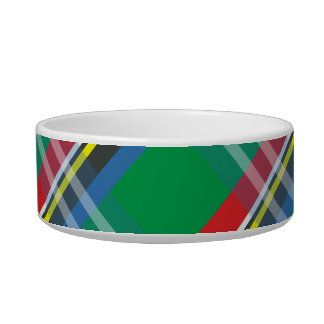 Plaid Pattern Personalized Cat Bowl