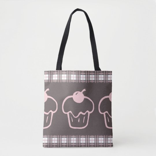 Plaid Pattern with Cupcakes Tote Bag
