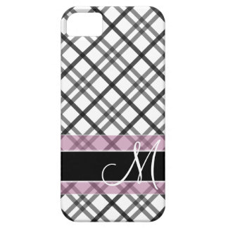 Plaid Pattern with Monogram - black white pink iPhone 5 Case