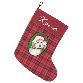 Plaid Personalized Doodle Dog Christmas Stocking Large Christmas Stocking