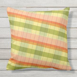 Plaid pillow orange yellow geen