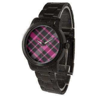 Plaid Pink and Black Oversized Black Bracelet Wristwatch