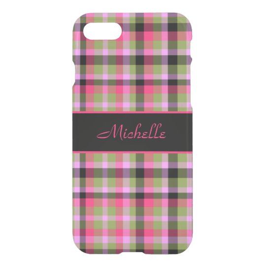 Plaid Pink and Green iPhone 7 Case