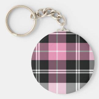 Plaid pink basic round button keychain
