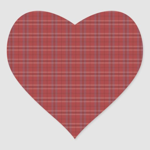Plaid Print Heart Stickers