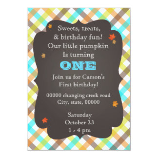 Plaid pumpkin first birthday invitation! card