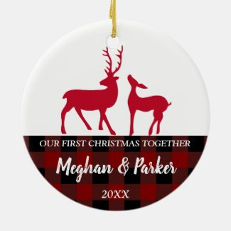 Plaid red checks deers First Christmas together Ceramic Ornament